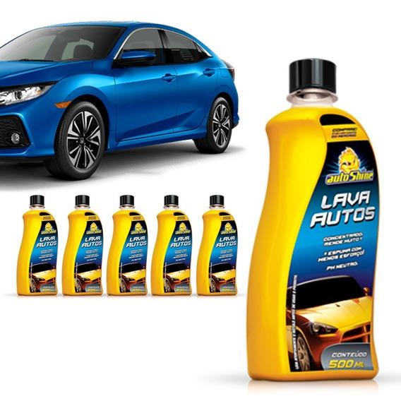 Kit 6 Shampoo Automotivo Lava Autos Alto Brilho Limpeza Auto