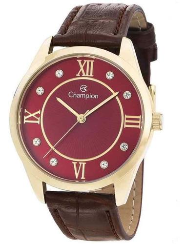 Relógio Feminino Champion Analógico Couro Marrom Cn28268v