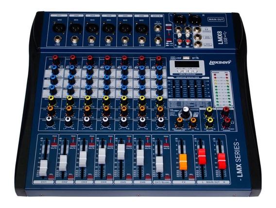 Mesa De Som Lexsen Lmx8usb Mp3 Mixer De 8 Canais