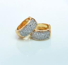 Brinco Feminino Argola Pequena Cristal Semi Joia Luxo
