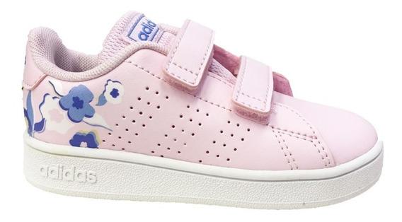 Tenis Para Bebé Rosa Flores adidas Advantage Ef0304