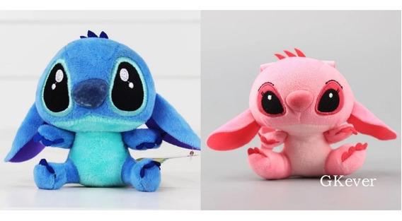 Kit Stitch E Angel Pelúcia Lilo & Stitch Disney 12cm 2 Peças
