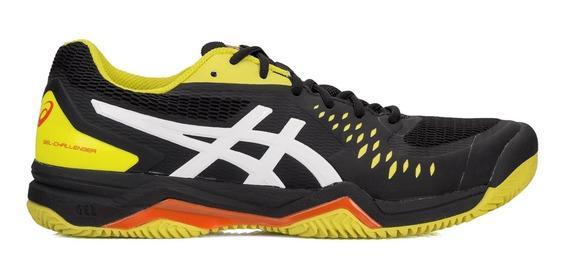 Tênis Asics Gel Challenger 12 Clay Preto E Amarelo Limão