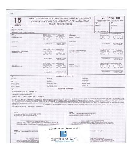 Formulario 15 Cesion De Derechos **envio En El Dia**