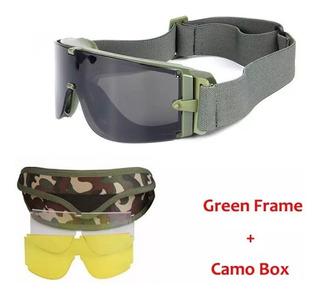 Kit Lentes Gafas Tácticas Verde Airsoft Extremo Impacto Uv