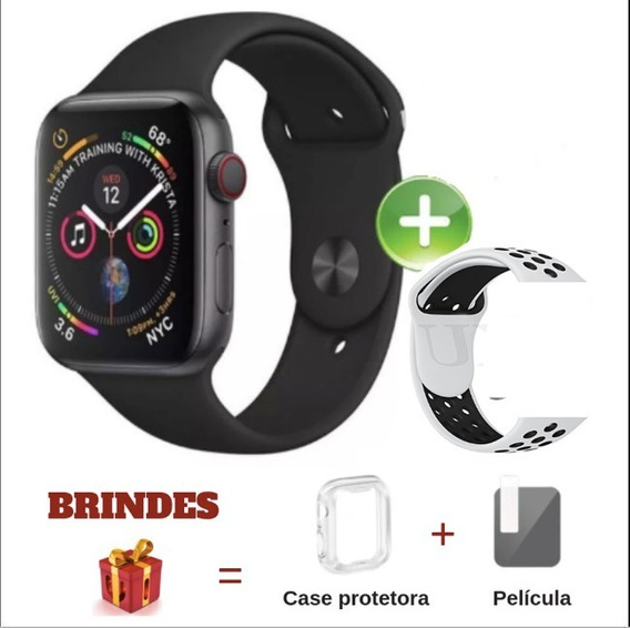 Relogio Inteligente Iwo8 44mm iPhone Samsung + Brinde Pulseira Extra + Pelicula + Capa Protetora