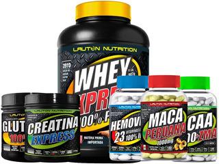 Kit Whey Protein Bcaa Glutamina Maca - Lauton Nutrition