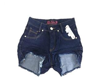 Kit 3 Shorts Jeans Feminino Atacado Cós Alto Hot Pants Lycra
