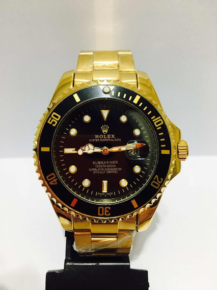 Relógio Submariner De Caixa Grande 45mm Gold Black