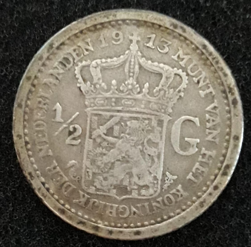 Imagem 1 de 2 de Moeda 1-2 Gulden Ano 1913 Holanda