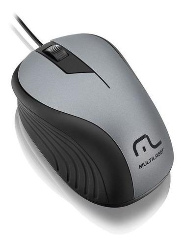 Imagem 1 de 1 de Mouse Multilaser Emborrachado Preto E Grafite Com Fio Usb