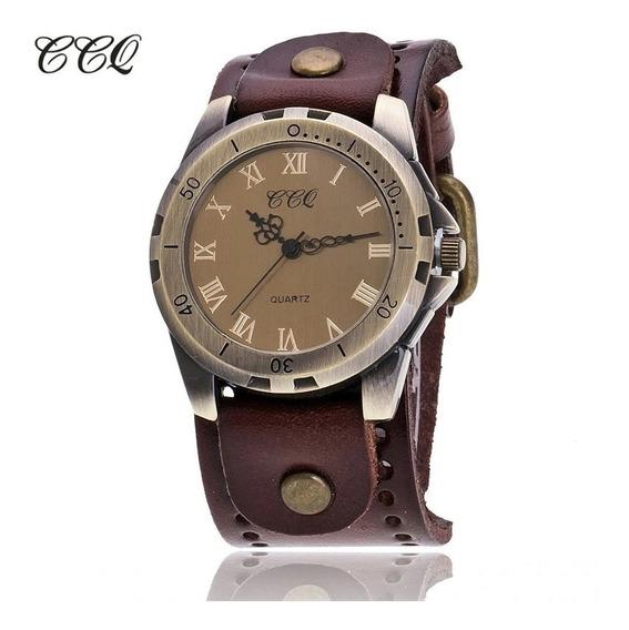 Relógio Luxo Quartzo Vintage Ccq Pulseira Couro Frete 10,00