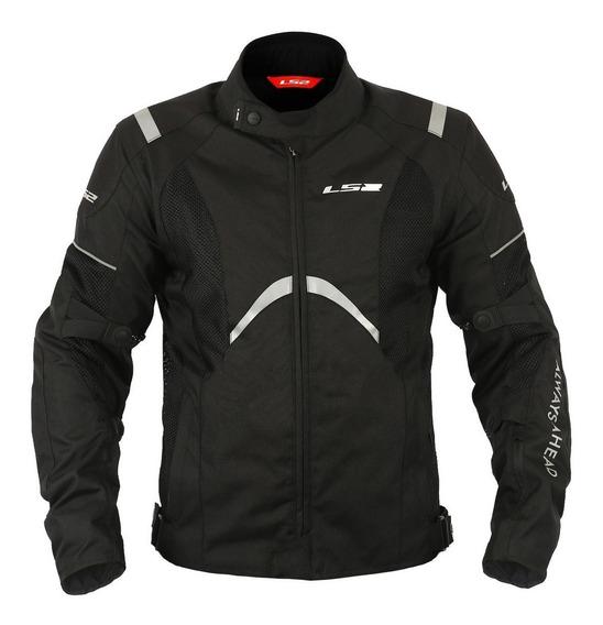Jaqueta Motoqueiro Ls2 Teide Preta Impermeável E Ventilada
