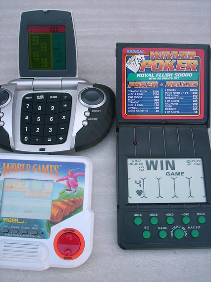 Lote 3 Videojuegos Portatil Antiguo Poker Tetris World Games