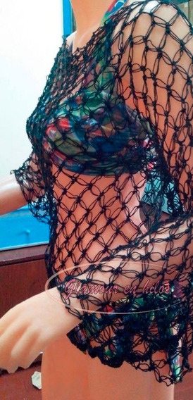 Top Crop Crochet Remera Tipo Cuello Bote. Nuevo