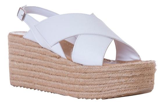 Calzado Dama Blanco Devendi Sandalia De Tacon De Yute