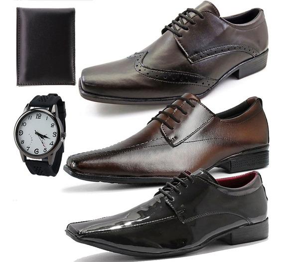 Três Pares De Sapato Social Masculino Com Carteira E Relógio