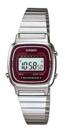 Relógio Casio Feminino Prata/vinho - La670wa-4df