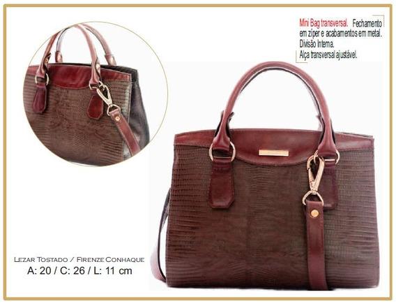 Bolsa Mini Bag Feminina Couro Legítimo Poucelle 4732