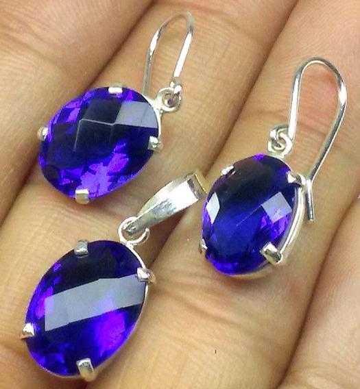 Obsidiana Azul Intenso Conjunto Prata Brinco Pingente