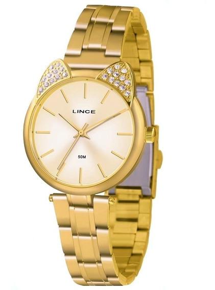 Relógio Analógico Lince Lrg621l C1kx Gato Gatinho Dourado