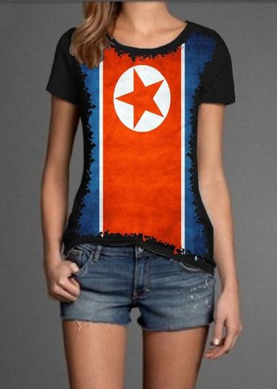 Blusa Babylook Bandeira Da Córeia Do Norte