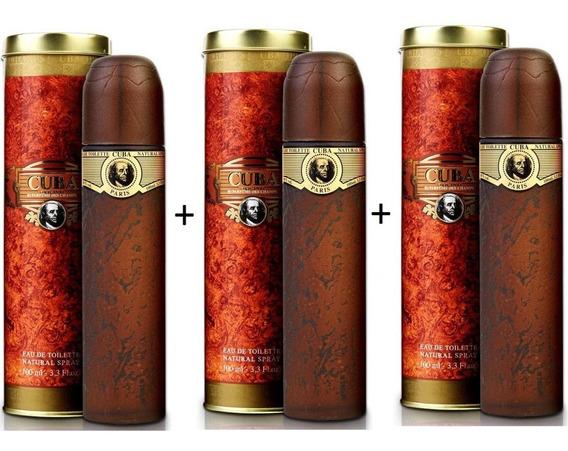3 Perfumes Cuba Gold 100 Ml - Lacrado - Selo Autenticidade Adipec