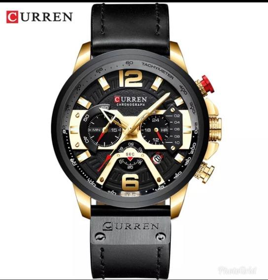 Relógio Masculino Curren Couro Original Funcional E Barato