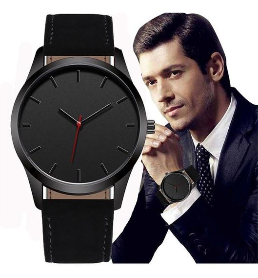Quartz Relógios Matte Couro Homens Preto
