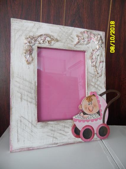 Porta Retrato Gris Para Nena Rosa Infantil Changuito Bebe