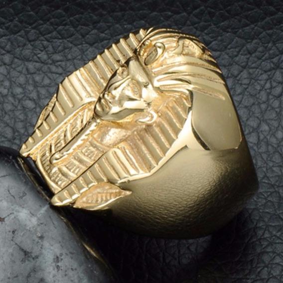 Anel Aço Nox Ouro 18k Dourado Hip Hop Ice Out Esfinge Moto Punk Metal Maçonaria Ostentação Funk Mc Masculino Lxbr A161