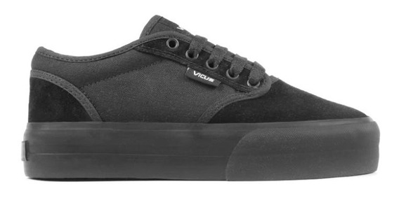 Zapatillas Vicus Folk Canvas Con Plataforma Full Black 1504