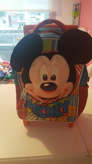 Mochila Disney Mickey Con Carro Tamaño 12