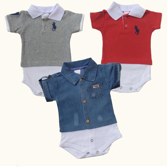 Kit 3 Body Bebê Menino 2 Body Camisa Gola Polo 1 Body Jeans!