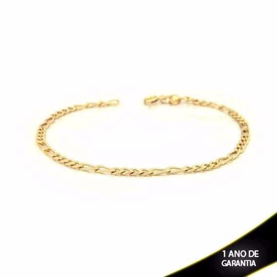 Pulseira Masculina 4x2 Diamantada 3mm Banhada A Ouro 18k