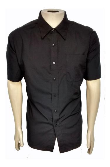 Camisa Social Masculina Manga Curta Preta Uniforme