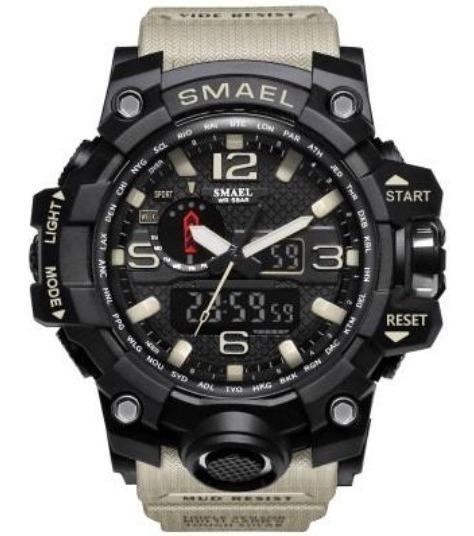 Reloj Militar Smael 1545 Shock Táctico 50m Sumergible Beige