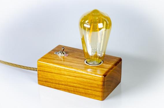 Luminária Abajur Bloco Cubo Madeira Retrô Vintage C/ Lâmpada