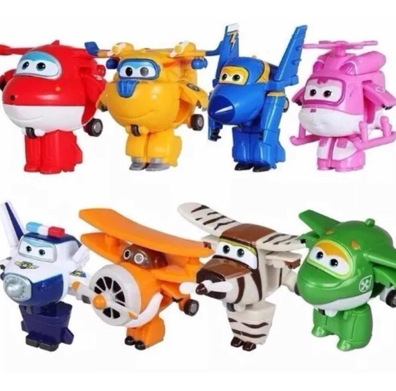 Kit C/ 8 Super Wings Personagens Transformes Brinquedos 5cm