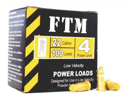 Cargas Amarillas Cal 22 + Clavos Caja X 100 Unidades