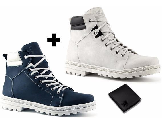 Kit 2 Pares De Sapato Coturno Bota Azul Branco Mais Carteira