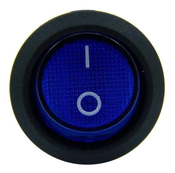 4botão Led Liga Desliga 12v Chave Gangorra Neom Leds Azul