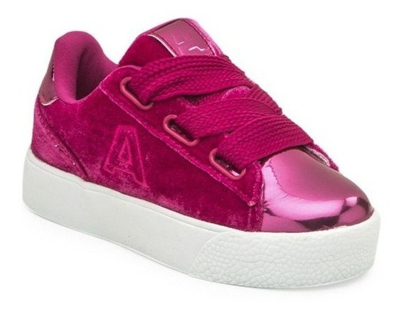 Zapatillas Addnice Plataforma Velvet Cordon Fucsia De Niños