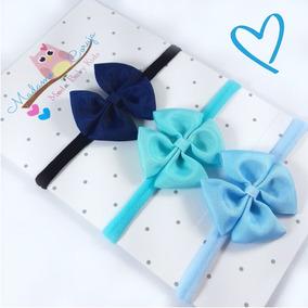 Kit Com 3 Faixas De Cabelo Para Bebê Menina Com Laço Tiara