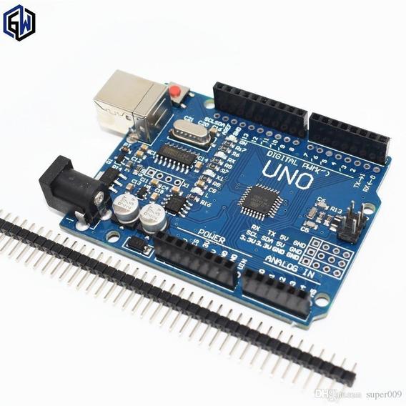 Placa Uno R3 Atmega328 Smd + Cabo Usb Compatível Com Arduino