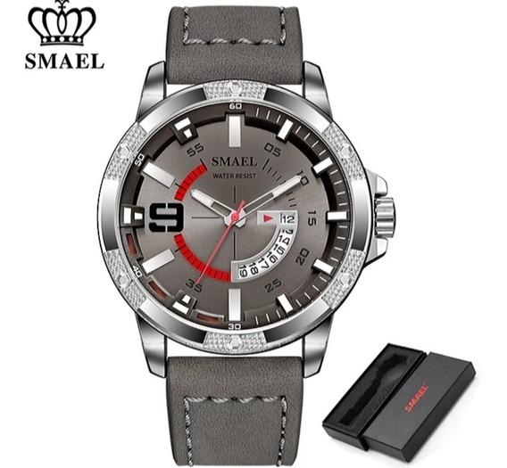 Relógio Masculino Smael Couro Dark Gray S9100 Frete Grátis