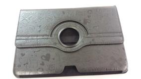 Capa Case Tablet Giratório Preto C/ Desenho 26 X18 Cm