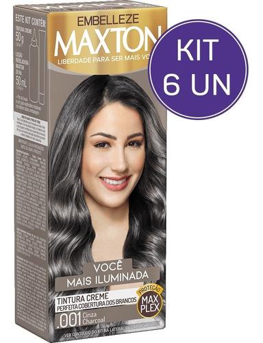Kit Tinta De Cabelo Maxton +iluminada Cinza Charcoal .001