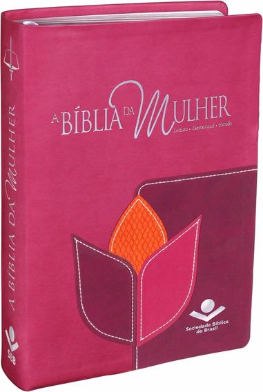 Bíblia Da Mulher De Estudo Rosa Tulipa Feminina.linda! Média
