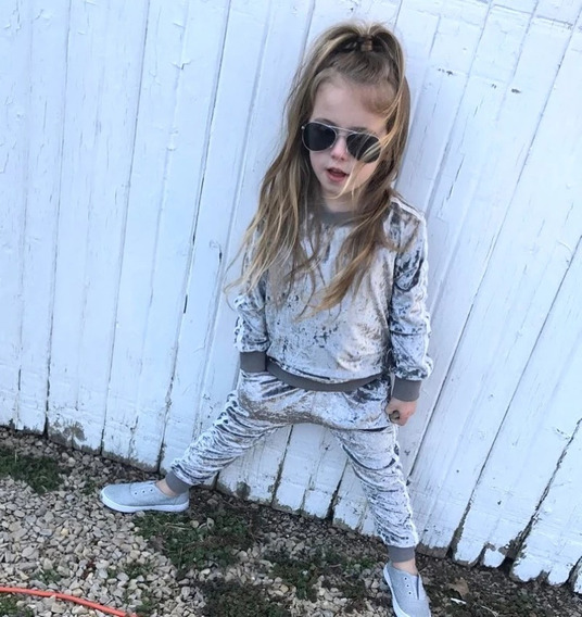 Conjunto Super Fashion Infantil Menina Veludo Molhado Prata